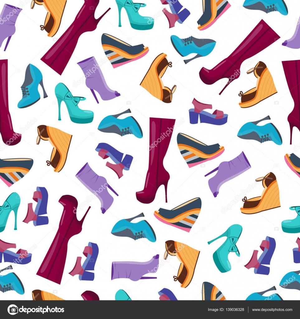 11df25554480ca Безшовні шаблон взуття і чоботи. Фон для обгорткового паперу та продажу  пакетів. Векторні ілюстрації. Плоский стиль мультфільму — Вектор від ...