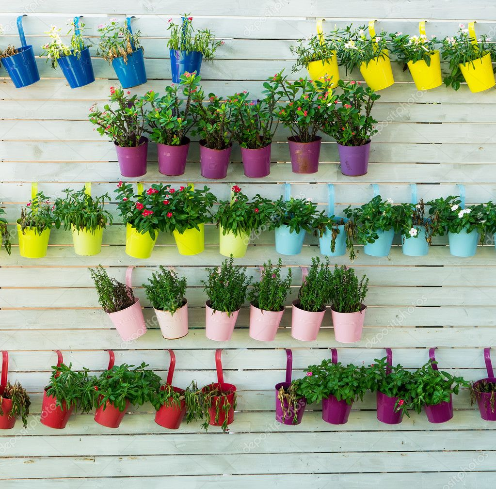 Hanging Flower Pots With Fence Stock Photo C Firefox 125075376