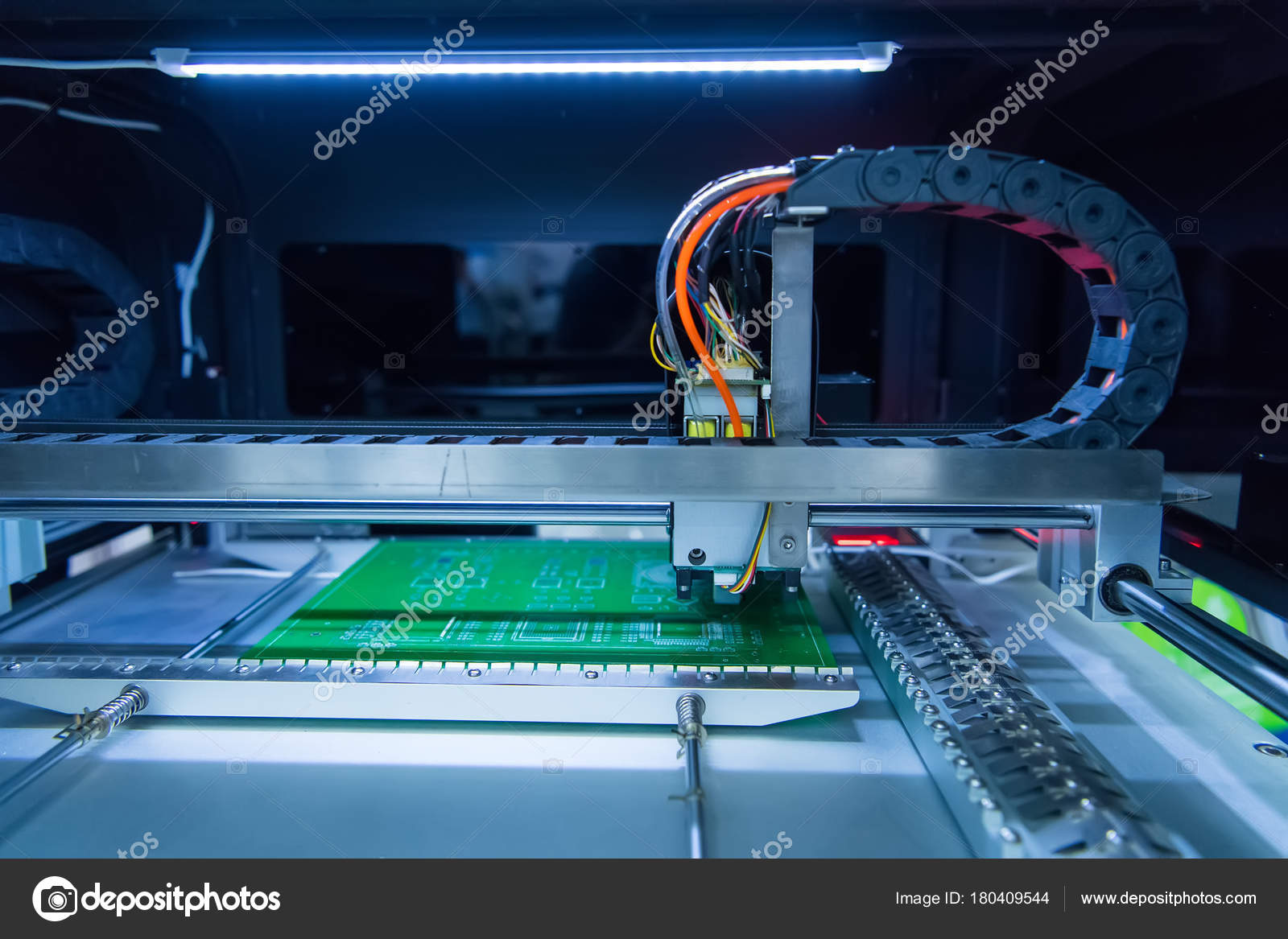 Printed Circuit Boards Production Factory Technological Process Manufacturing The Board Assembling Stock Photo