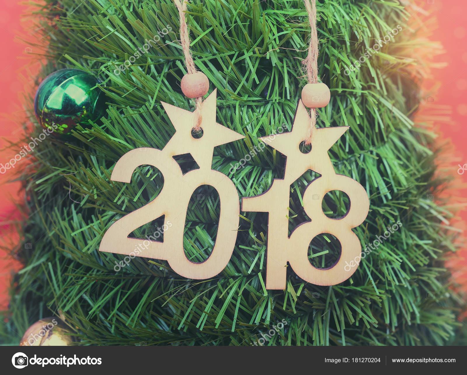 Prosit Neujahr 2018 Geschrieben Kiefer Baum Hintergrund — Stockfoto ...