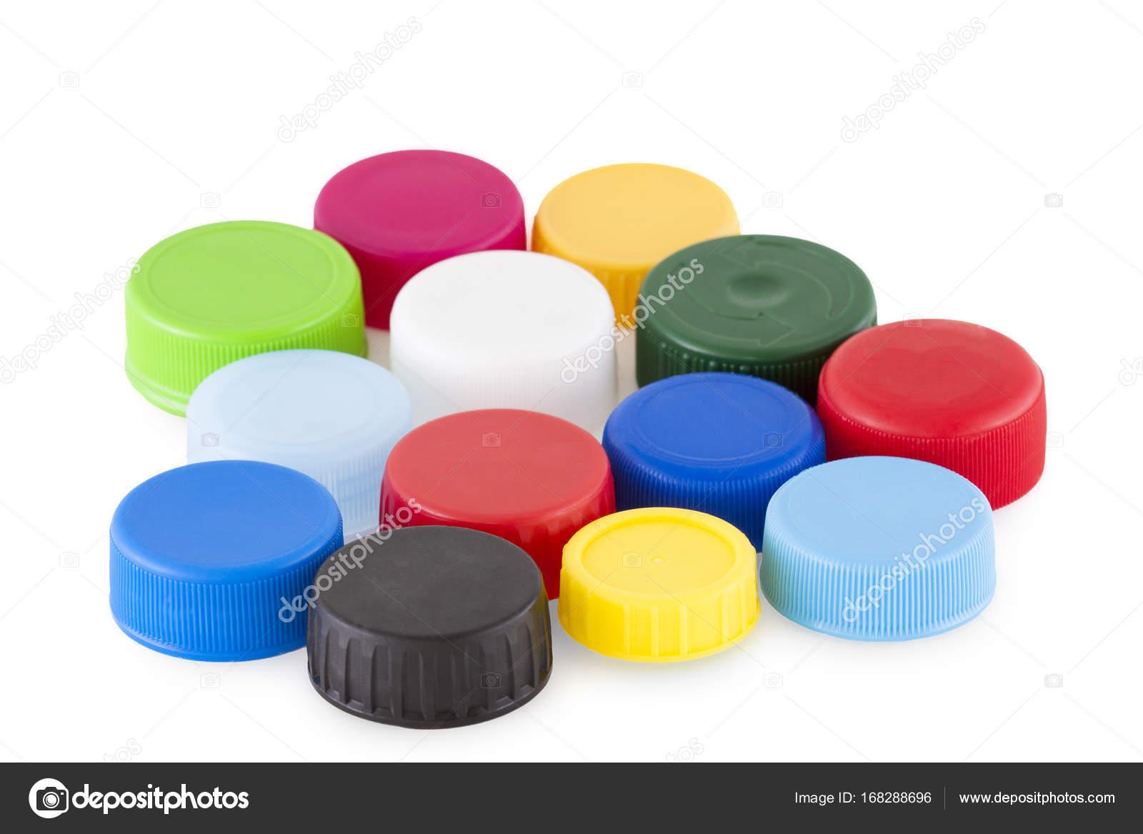 Tapas de botellas plásticas aisladas sobre fondo blanco - imágenes  tapas  de botellas — Foto de Gbuglok — Foto de Gbuglok 02ac64a327cd