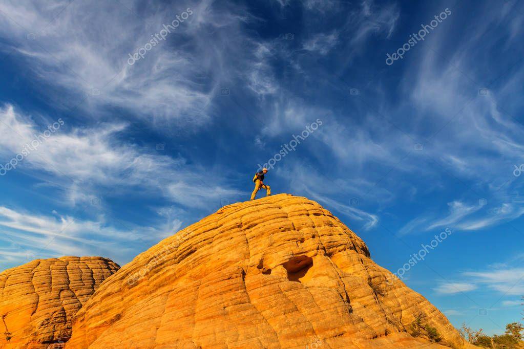 hiker on Sandstone formations