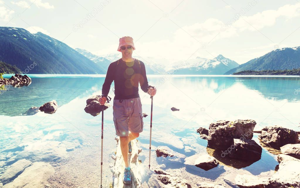 man on Garibaldi lake
