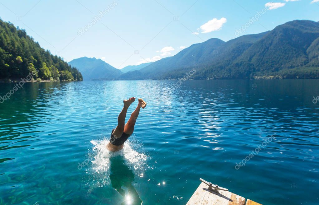 Man jumping in Crescent lake