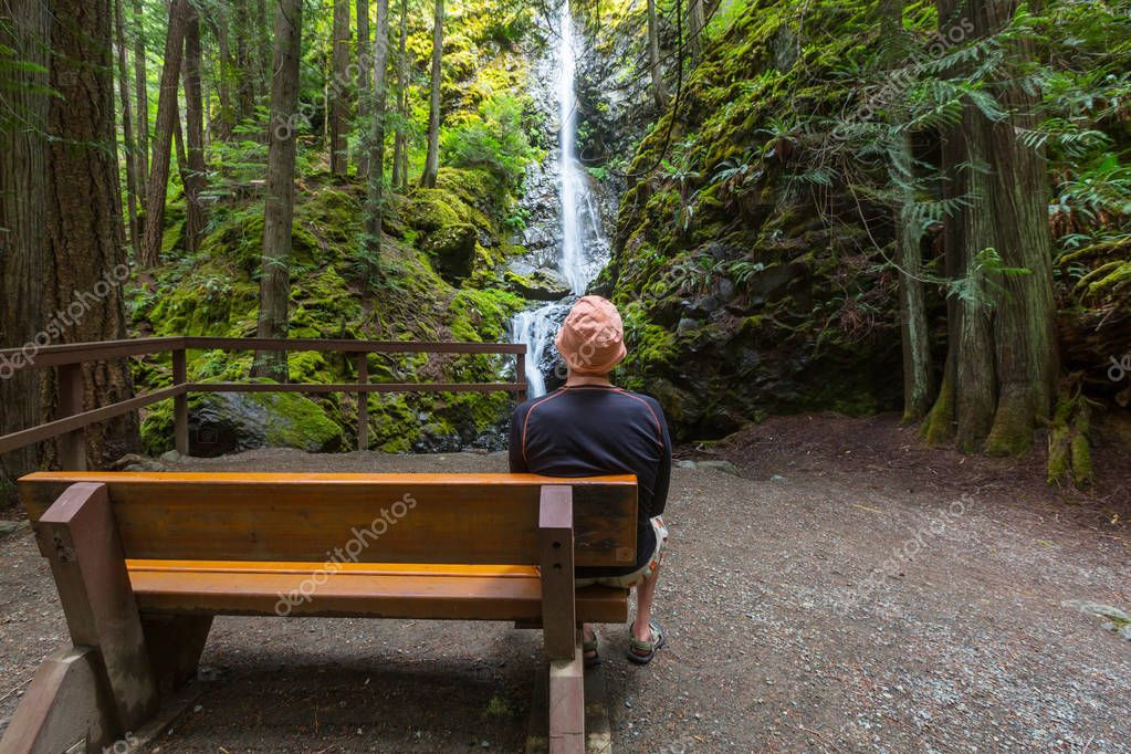 man near Waterfall in Canada