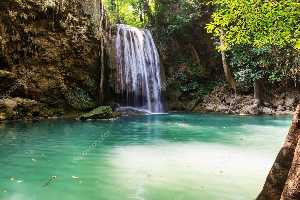Beautiful waterfall in rainforest