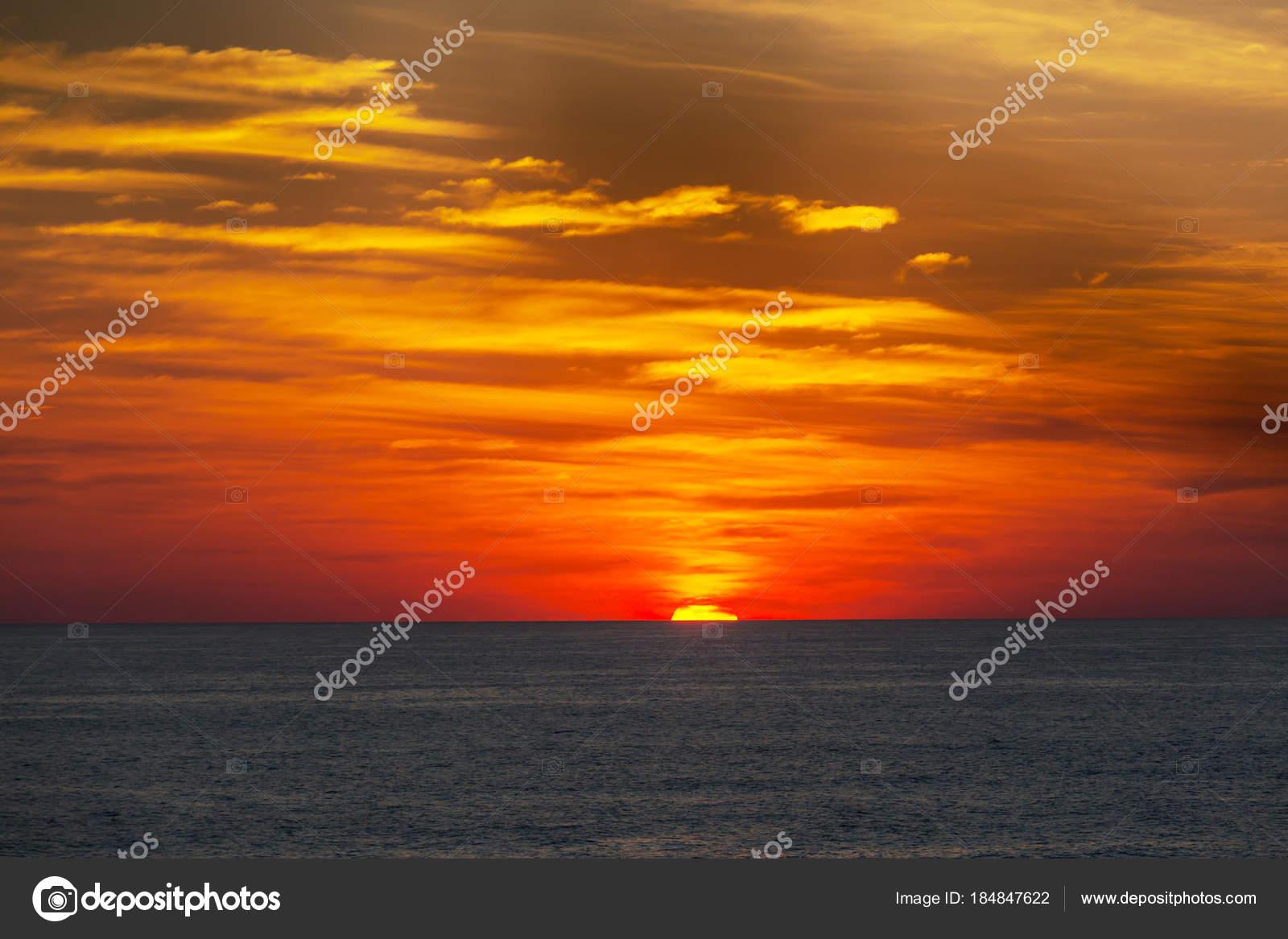 Scenic Colorful Sunset Sea Coast Good Wallpaper Background Image Stock Photo