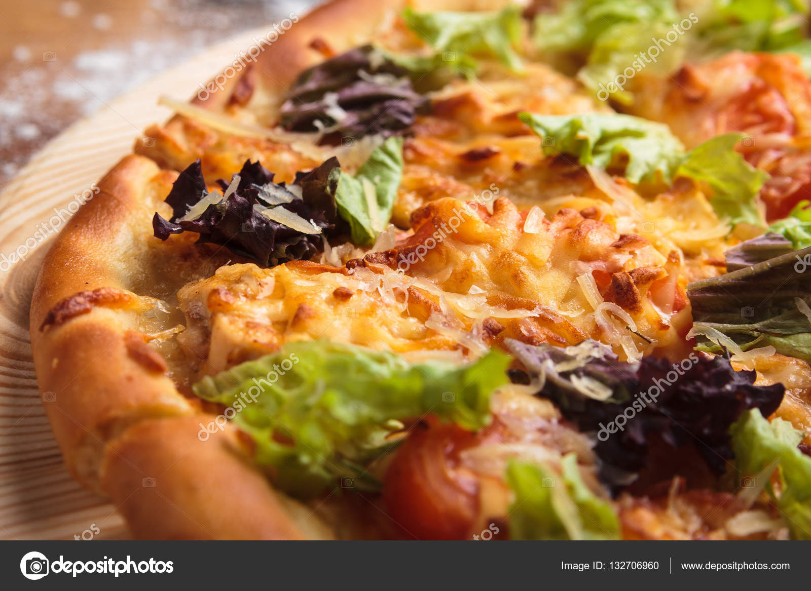 Caesar Pizza Auf Chaotisch Aus Holz Hintergrund Stockfoto Mrakor