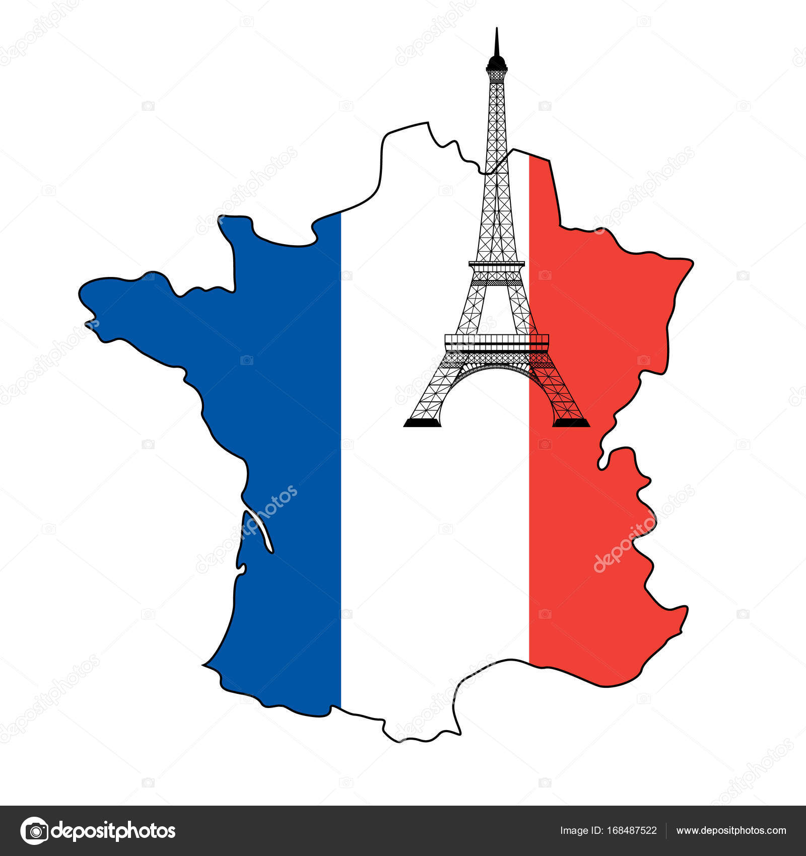 Map Of France Eiffel Tower.Eiffel Tower And Flag Of France Stock Vector C Nataly Nete 168487522