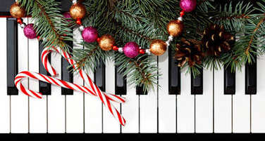 Christmas card with piano