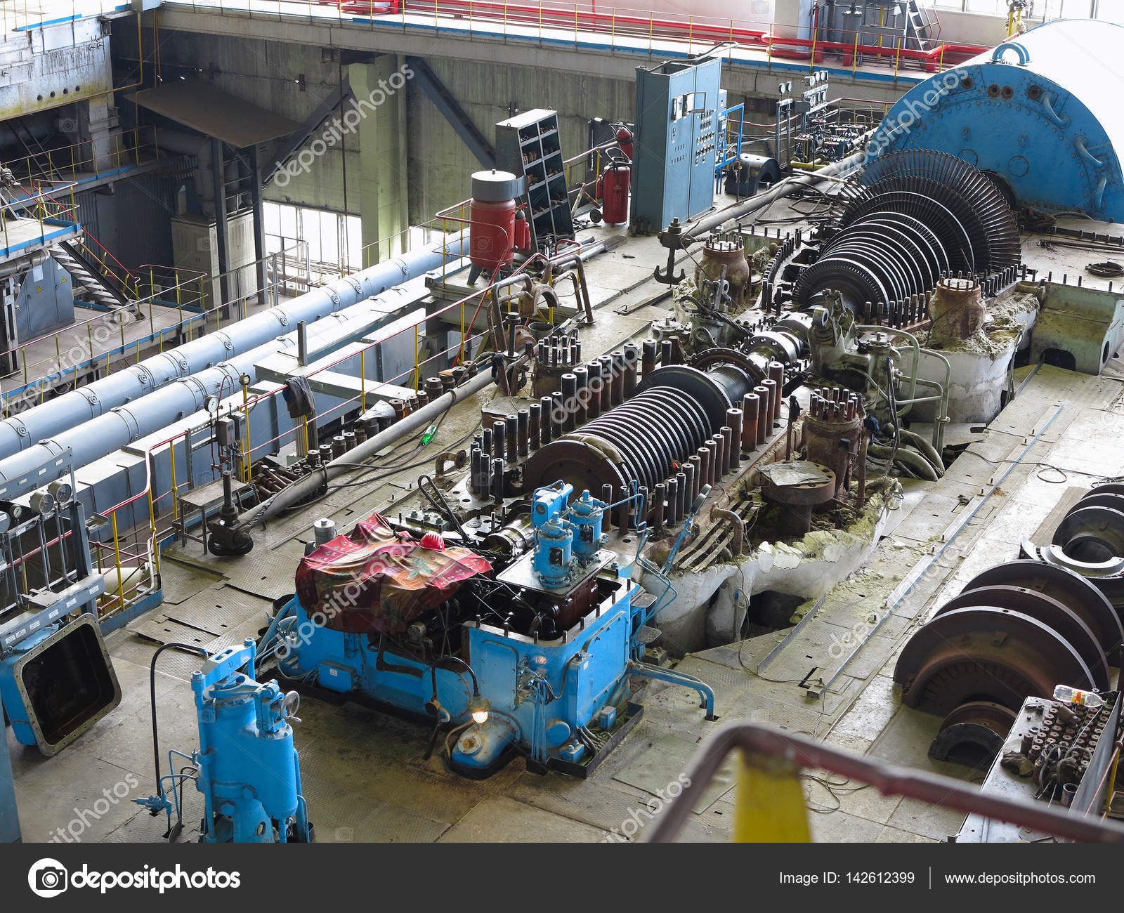 steam turbine in repair process machinery pipes tubes at pow