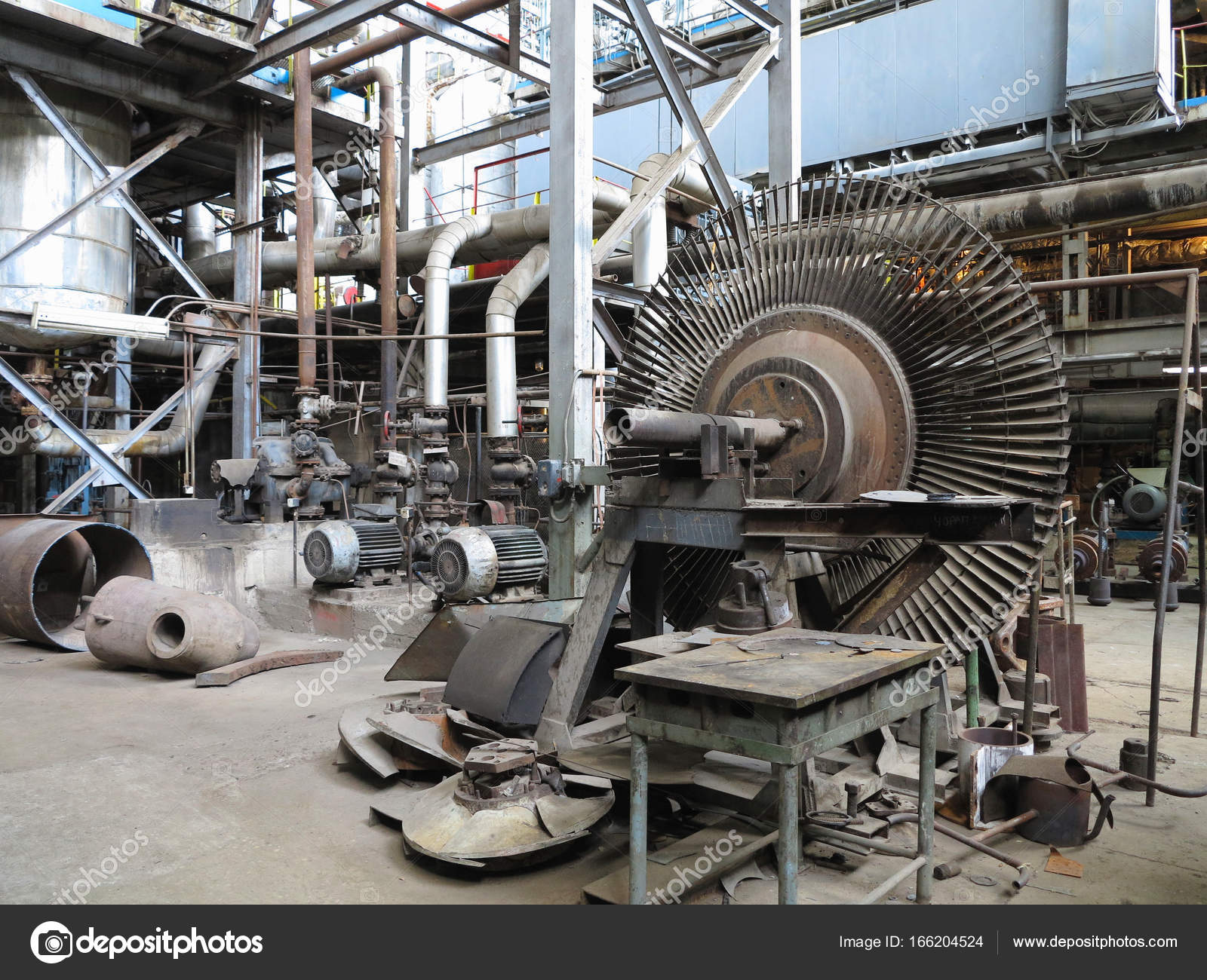 Power generator steam turbine during repair at power plant — Stock