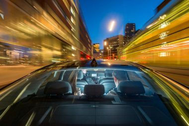 taxi driver riding couple
