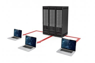 3d server data center and laptop network on white background