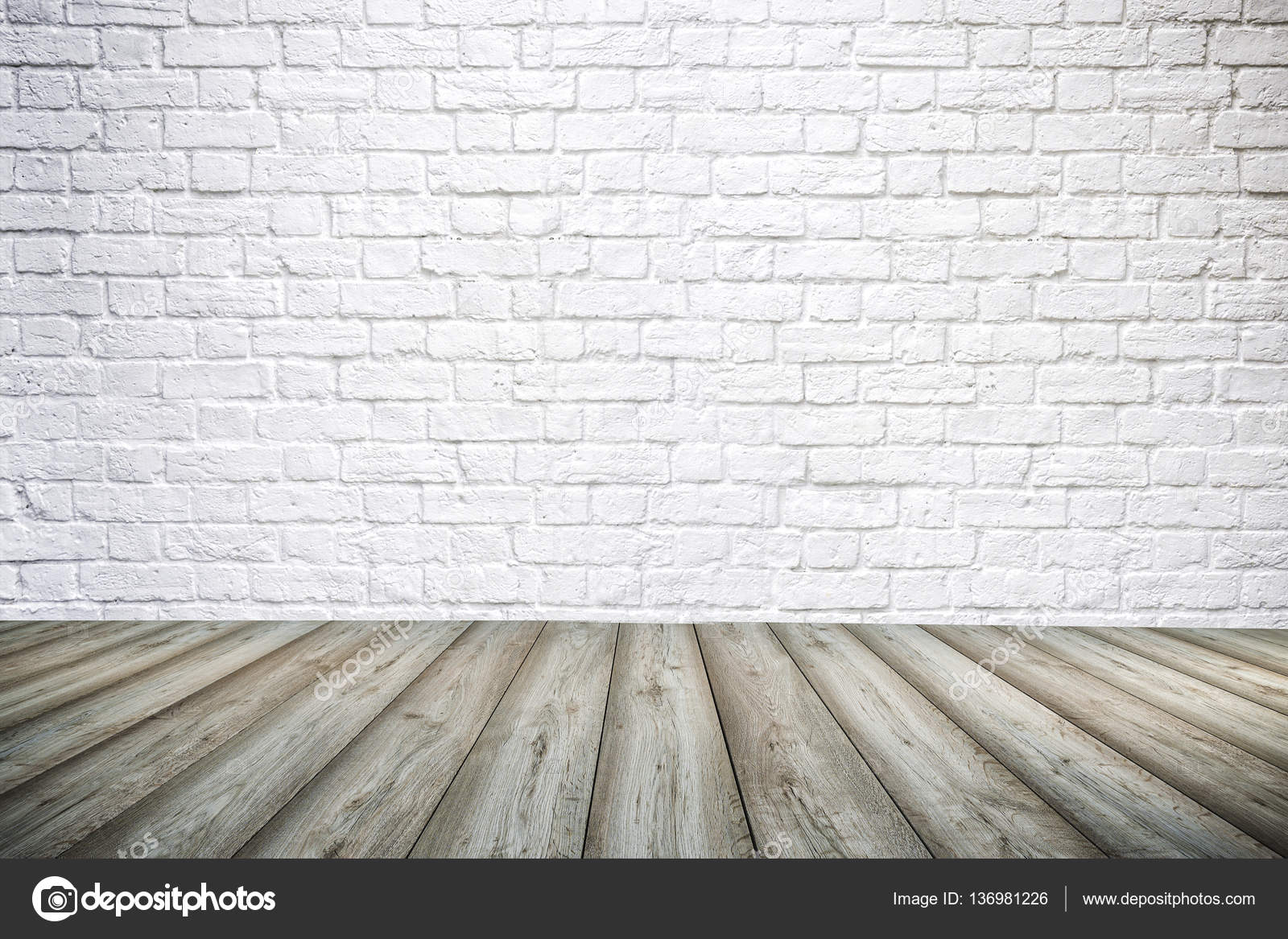 3d interior background with white brick wall and wooden floor