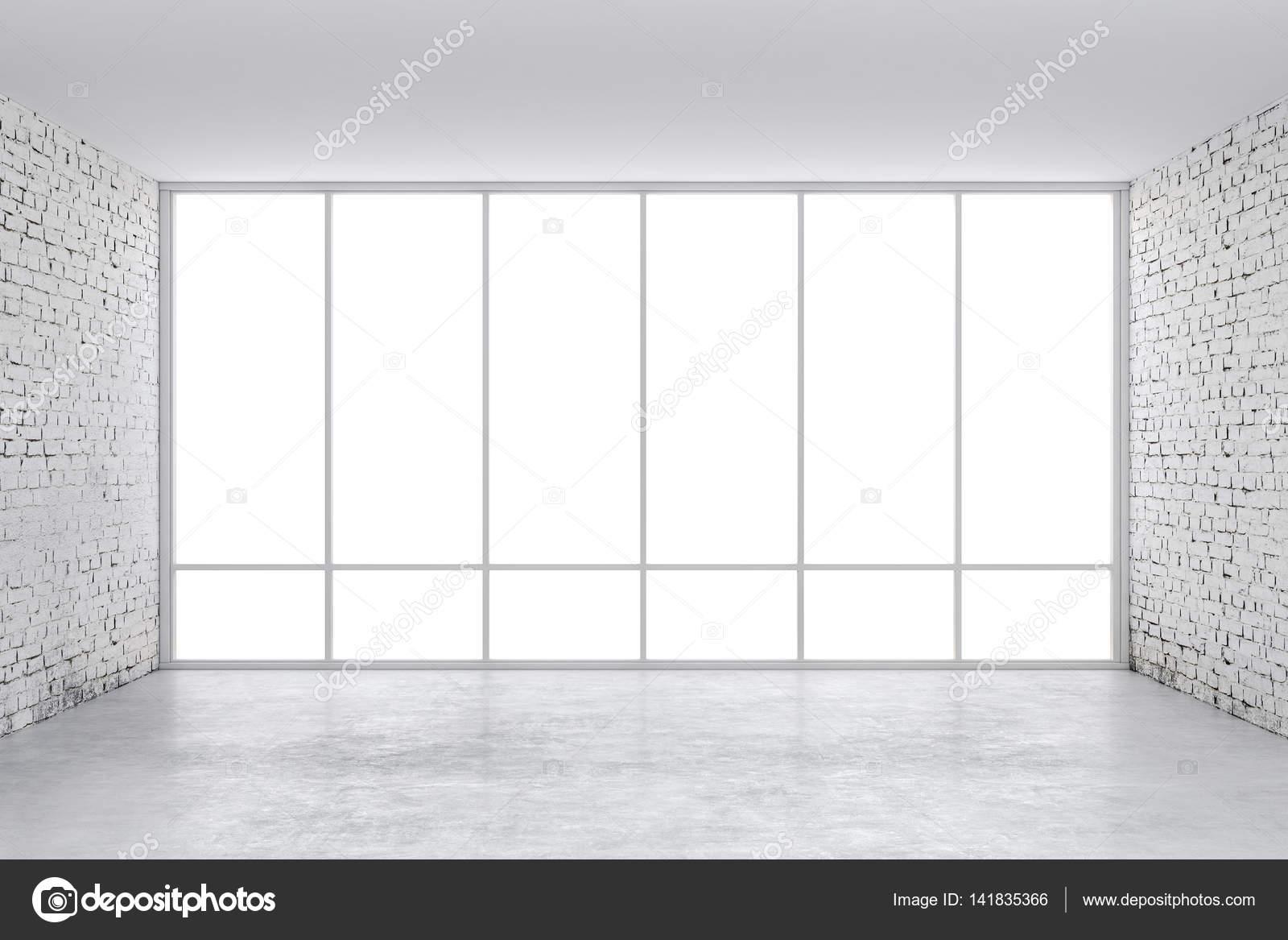 3D interior habitación vacía con un marco de ventana grande — Foto ...