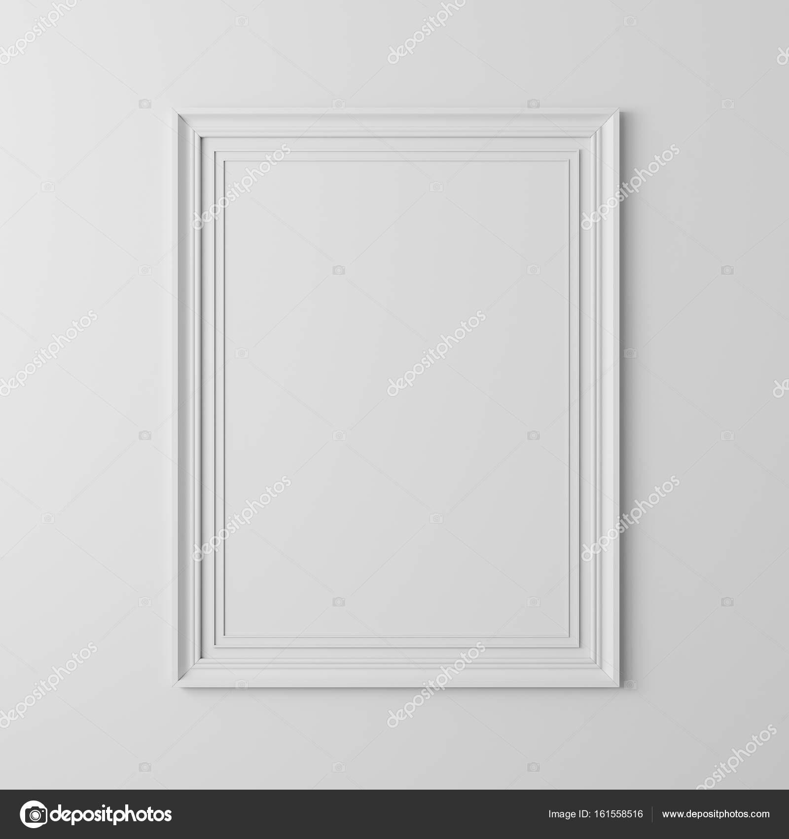 3d blank frame poster on white wall — Stock Photo © digitalgenetics ...