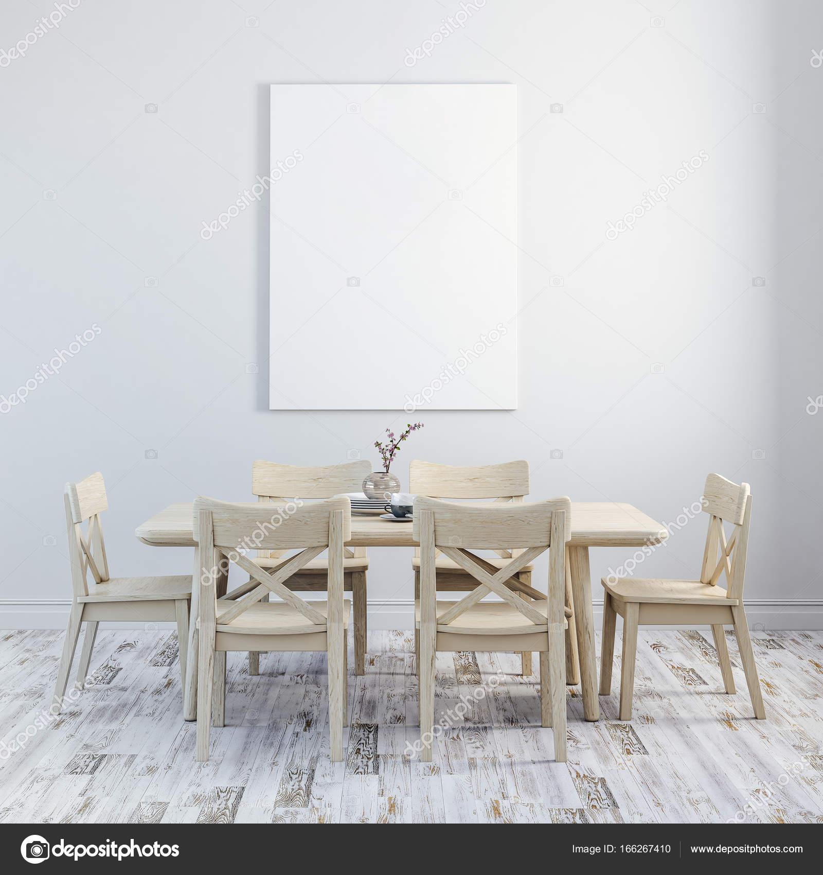 Rendu 3D De Nettoyer Linterieur Avec Table En Bois Et Chaises Images Stock Libres Droits