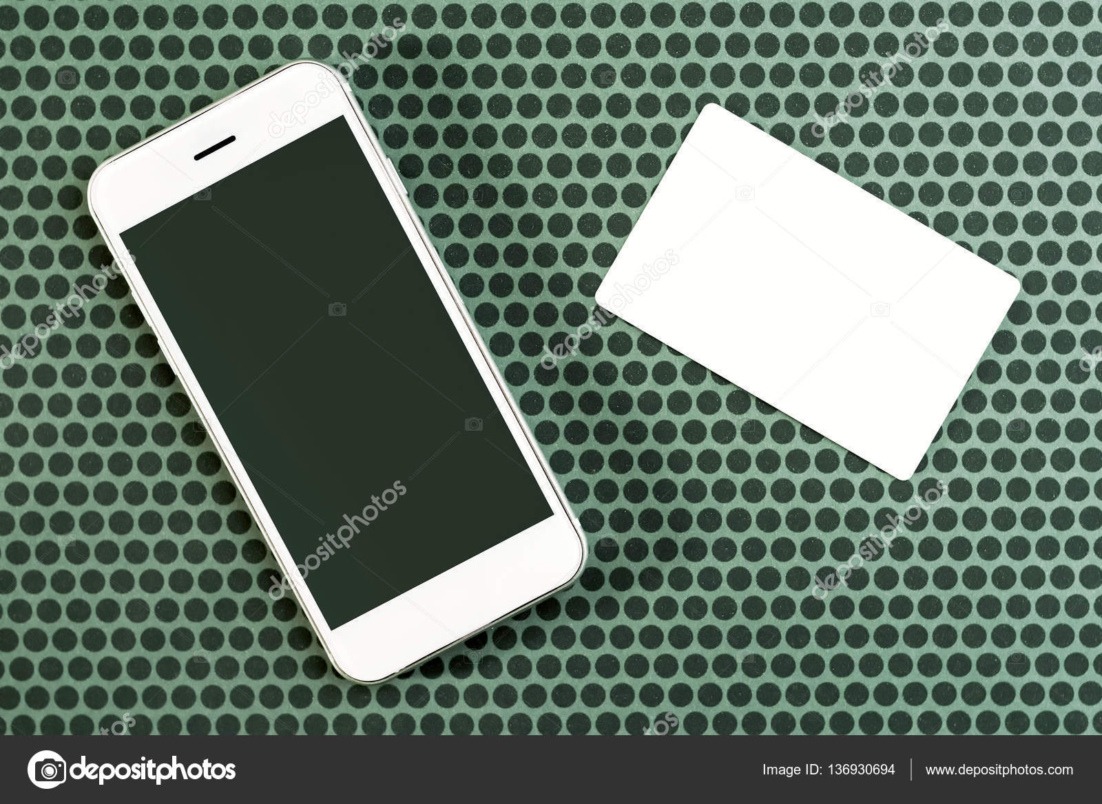 Smart phone and blank business card, mock up copy space — Stock ...