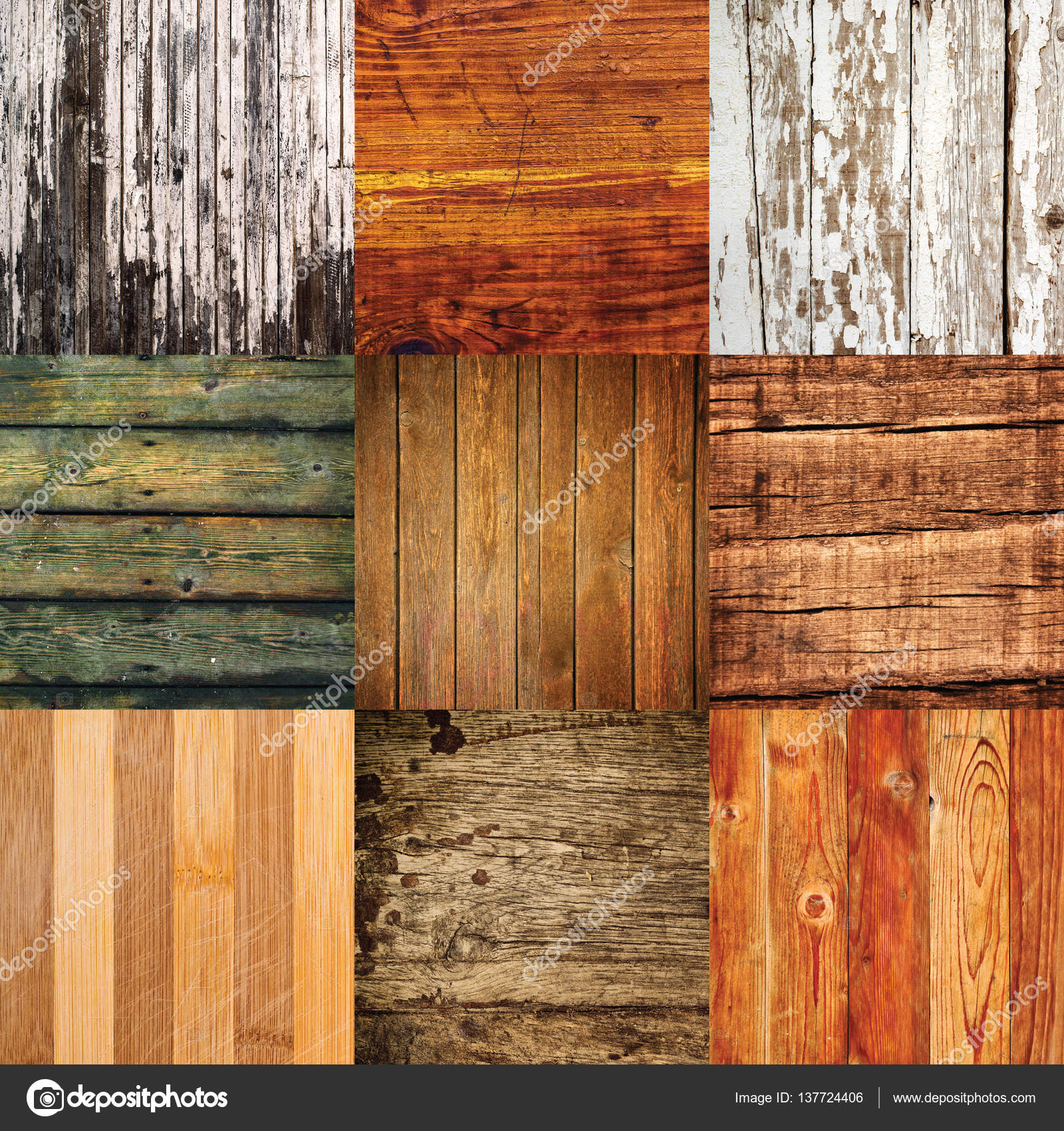 Collage of various different wood texture samples — Stock