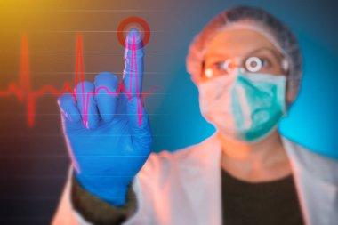 Doctor analyzing heart cardiogram ECG on virtual screen, female healthcare worker using modern innovative technology in medicine stock vector