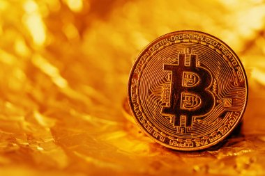 Bitcoin, blockchain cryptocurrency golden coin