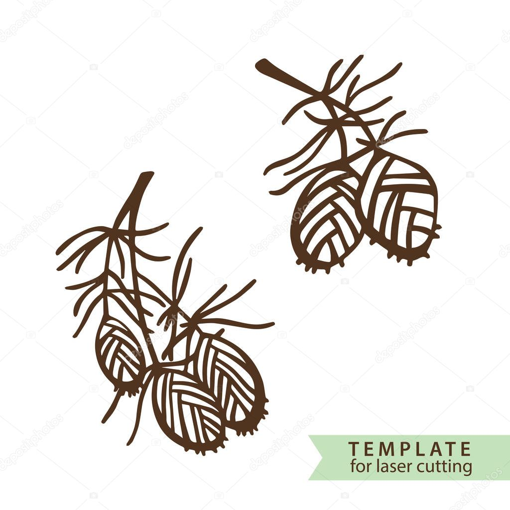 Two branches of pine with fir cone. Template for making a stamp or laser cutting