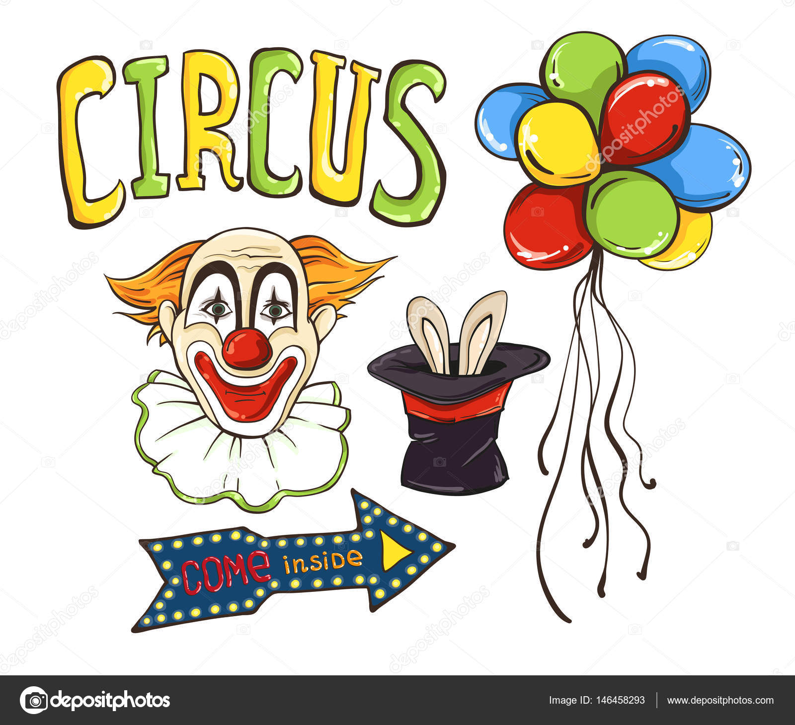 circus set with clown face balloons hat and rabbit ears on it