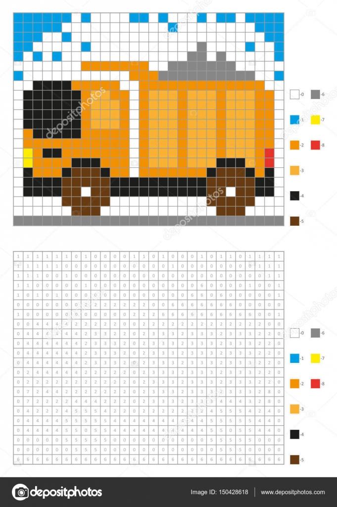 Malbuch mit nummerierten Plätzen. Kinder Malvorlagen, Pixel-Färbung ...