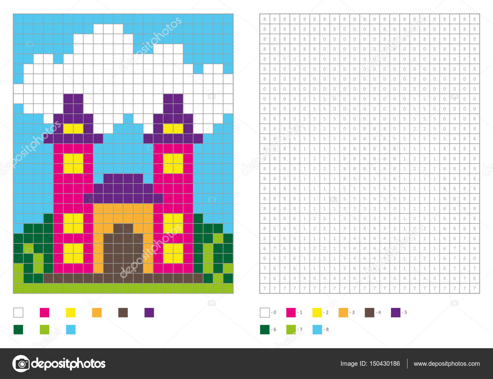 Coloring Book With Numbered Squares Kids Page Pixel Building House