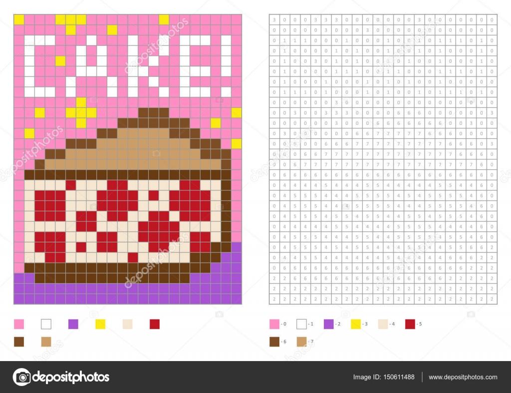 Página para colorear de niños, pixel para colorear con números ...