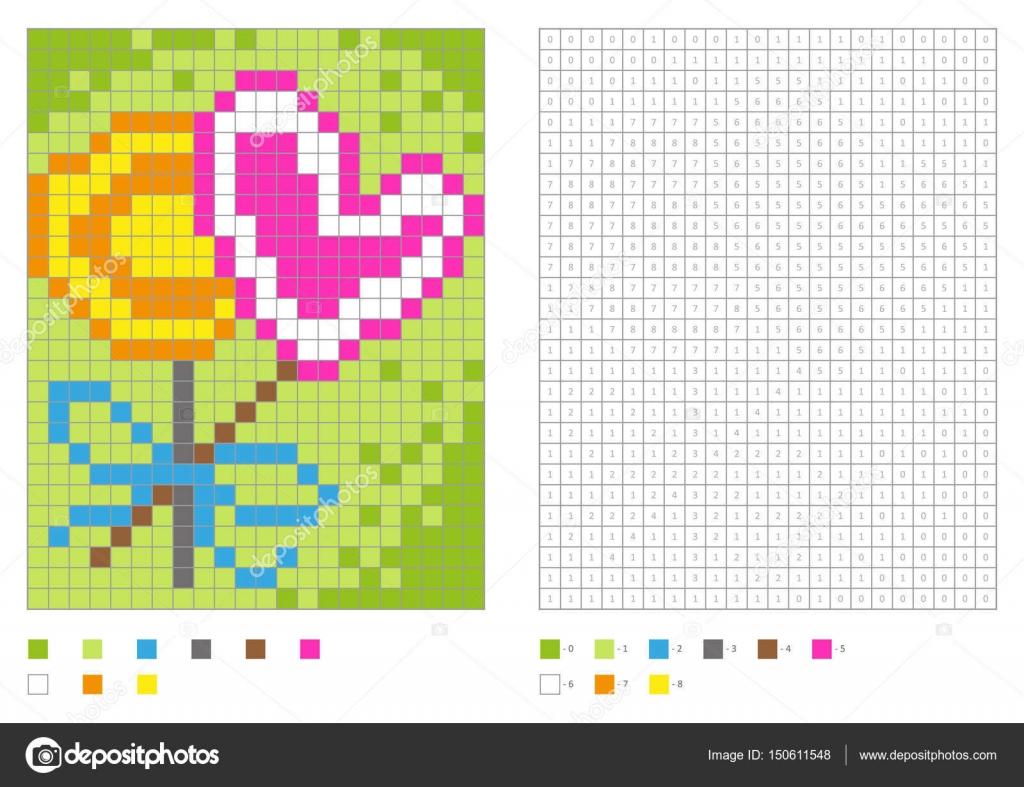 Coloriage Sucette Coeur.Enfants Coloriage Pixel Coloriage Avec Numerotees Carres Deux
