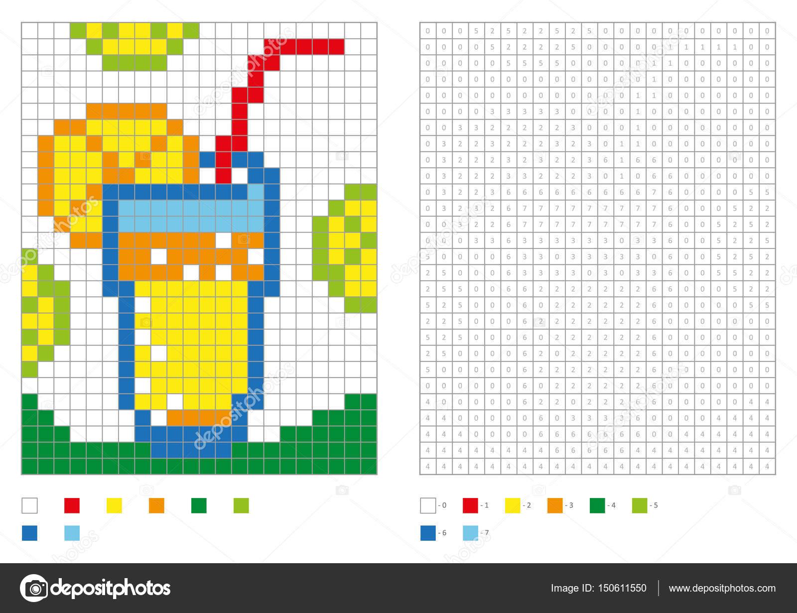 Kinderen Kleurplaten Pagina Genummerde Pixel Kleuren Met Vierkanten