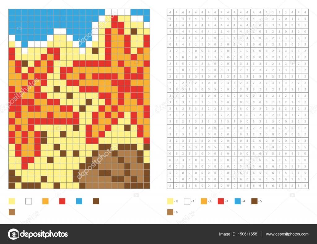 Kleurplaten Zeesterren.Kinderen Kleurplaten Pagina Genummerde Pixel Kleuren Met Vierkanten
