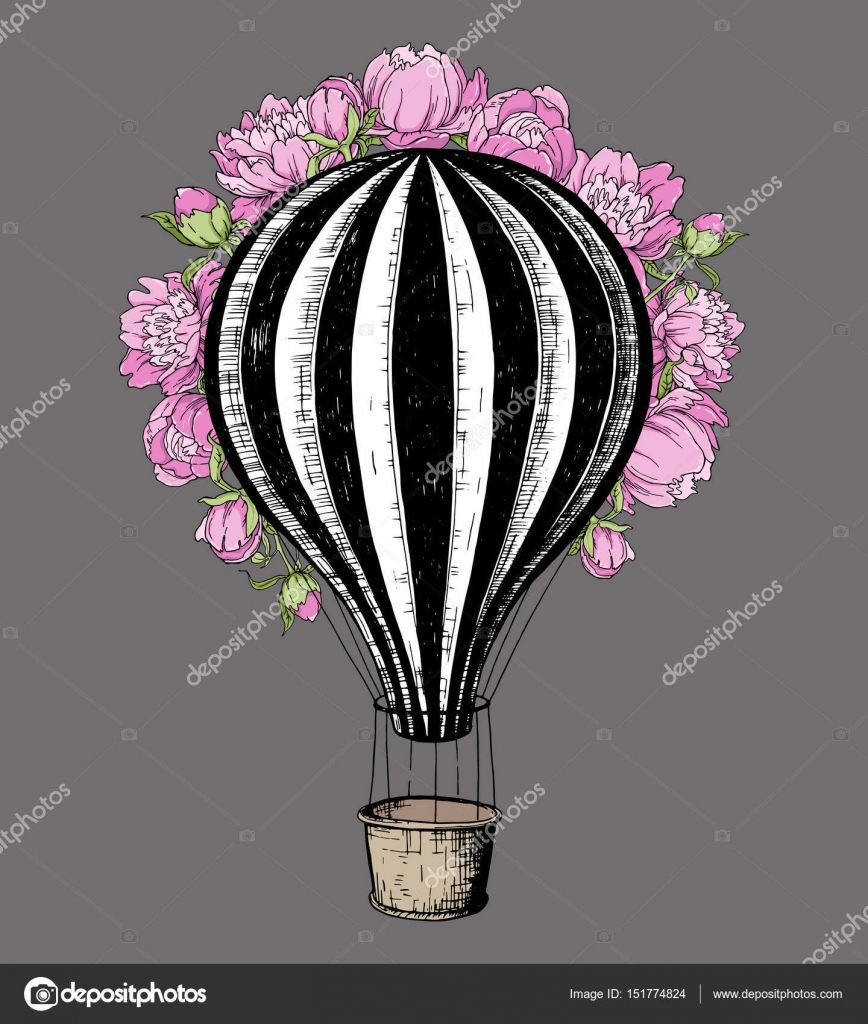 Hot Air Balloon with pink peony, template for wedding invitation ...