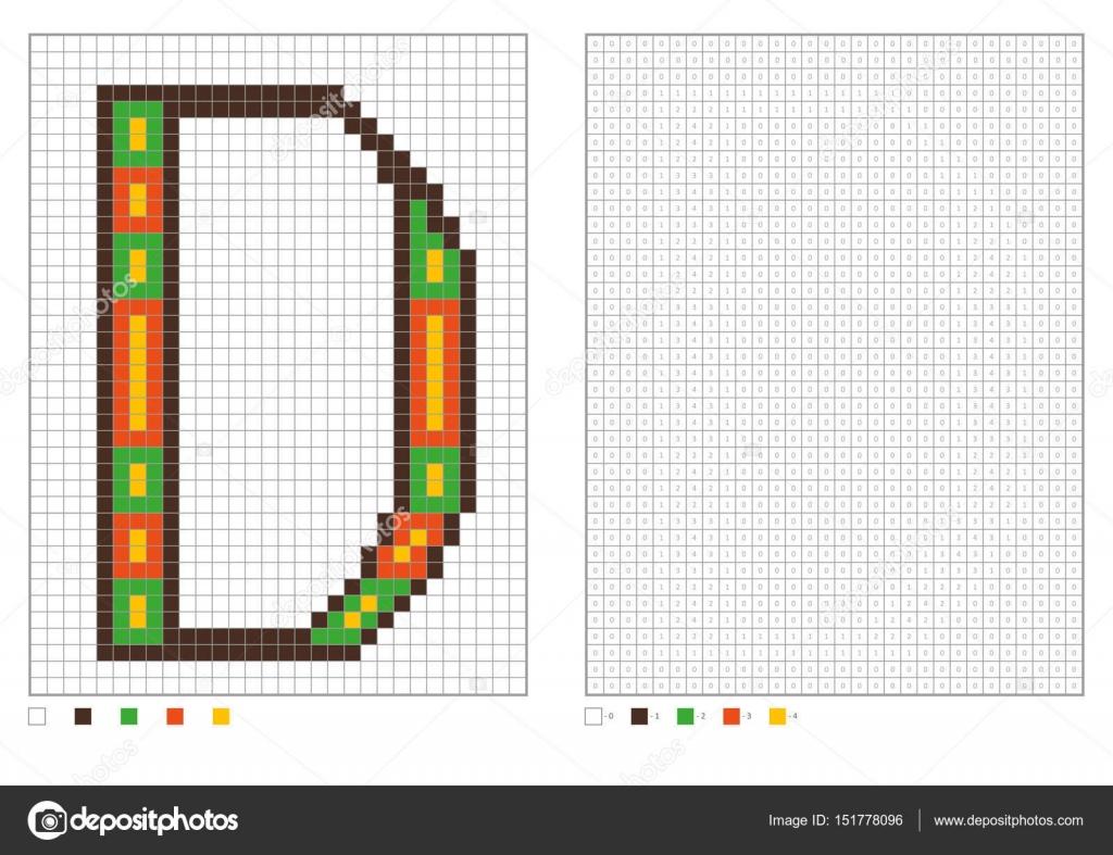 ABC-Malvorlagen. Alphabet-Pixel Färbung mit nummerierten Plätzen für ...