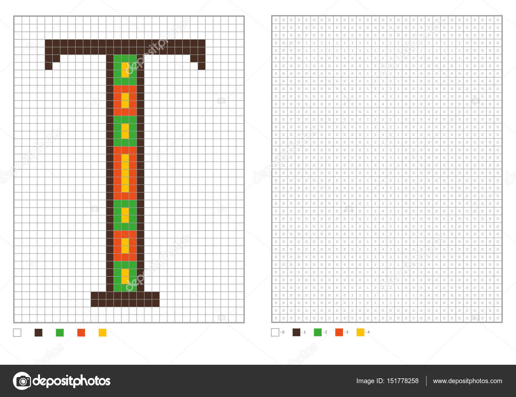Abc Kleurplaat Alfabet Pixel Kleuren Met Genummerde Vierkanten Voor