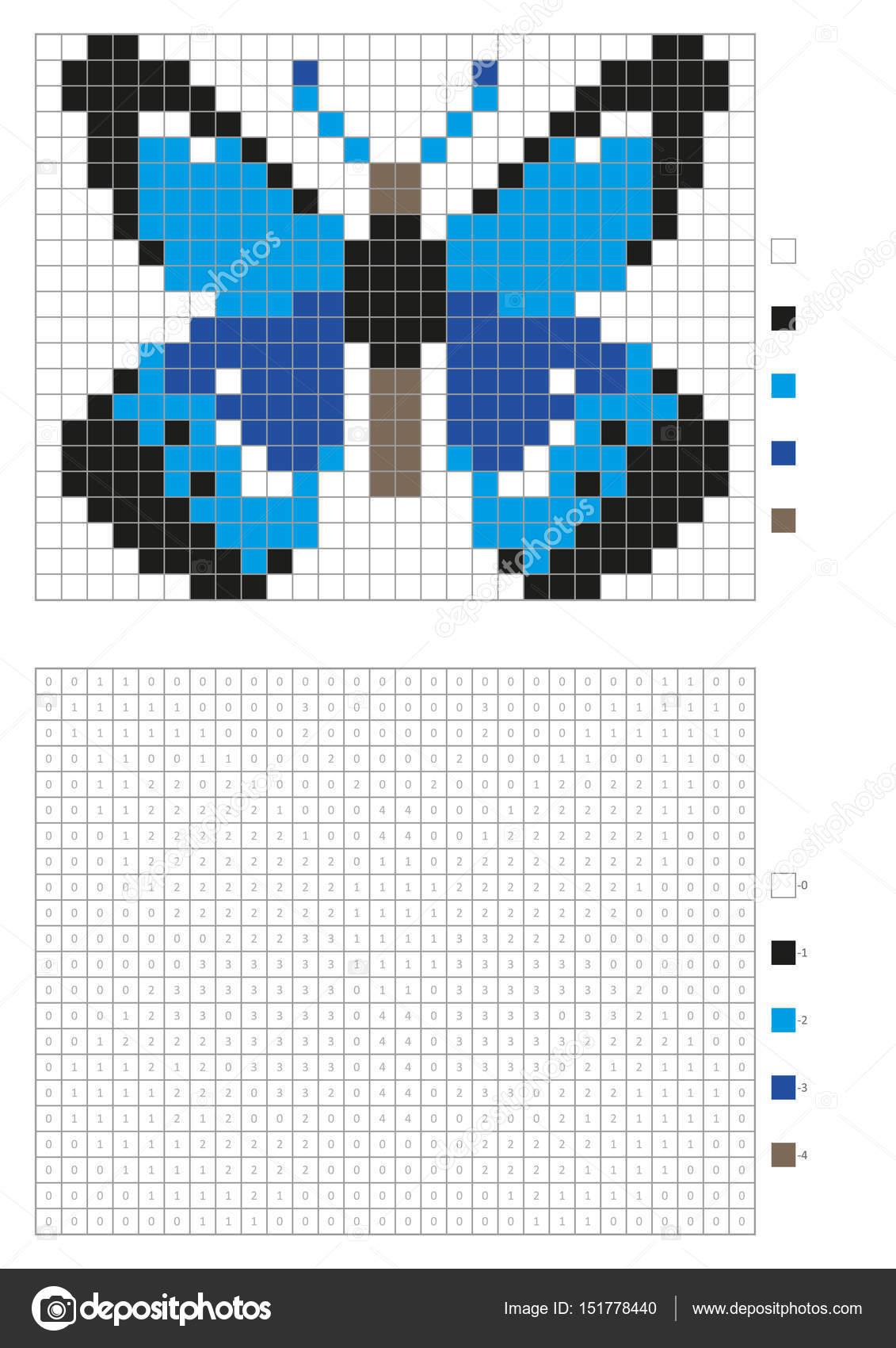Kinder Malvorlagen, nummeriert Pixel Färbung mit Quadraten. Blauer ...