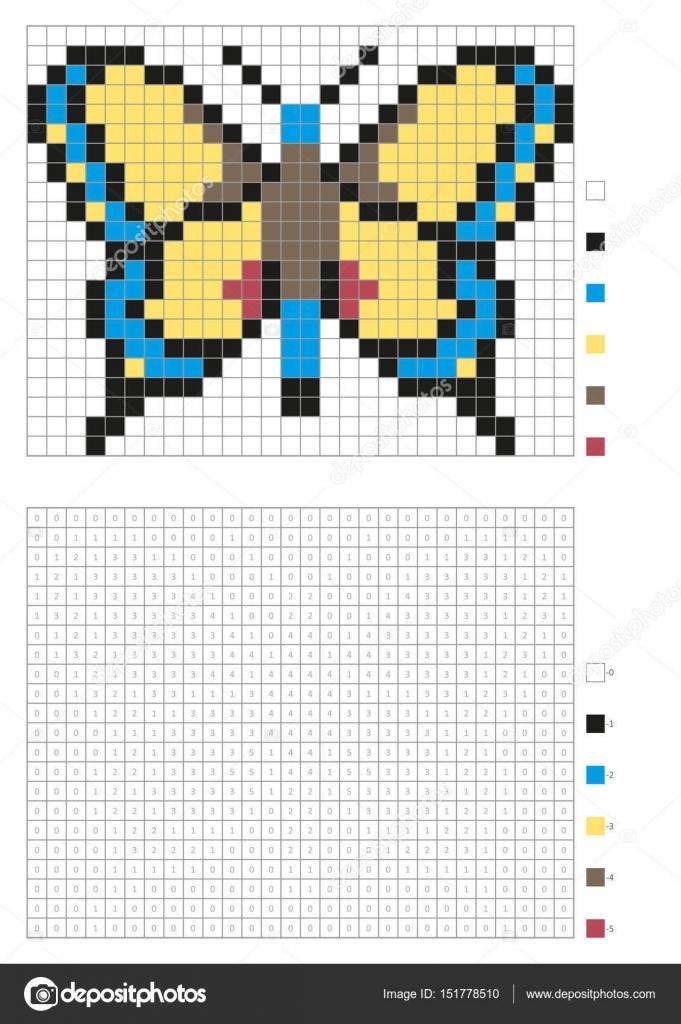 Kinder Malvorlagen, nummeriert Pixel Färbung mit Quadraten. Gelbe ...