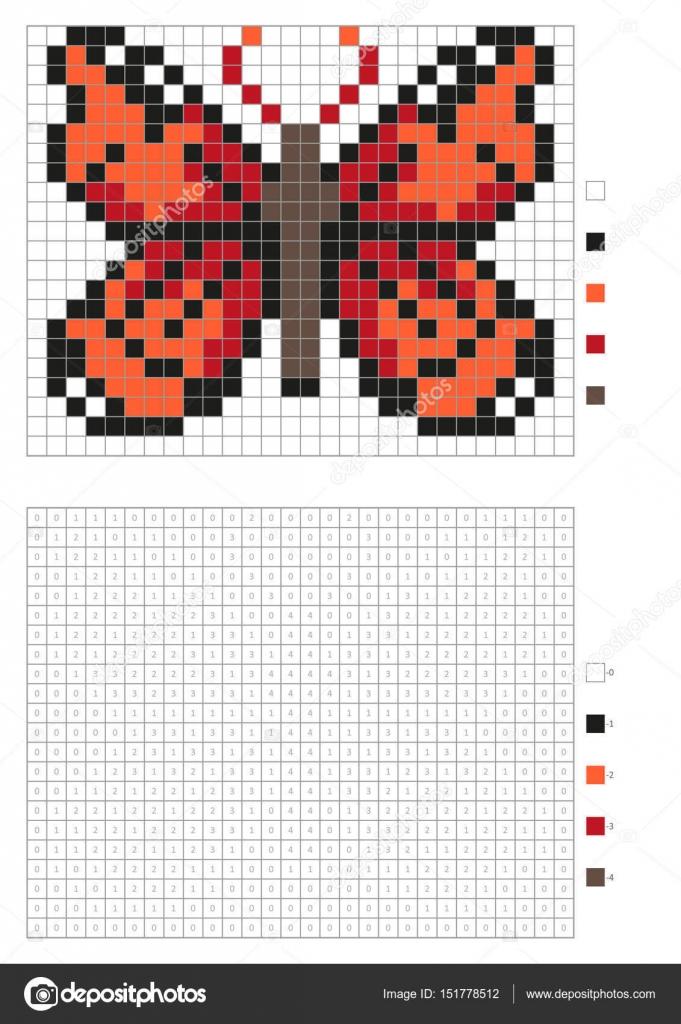 Kinder Malvorlagen, nummeriert Pixel Färbung mit Quadraten. Roter ...