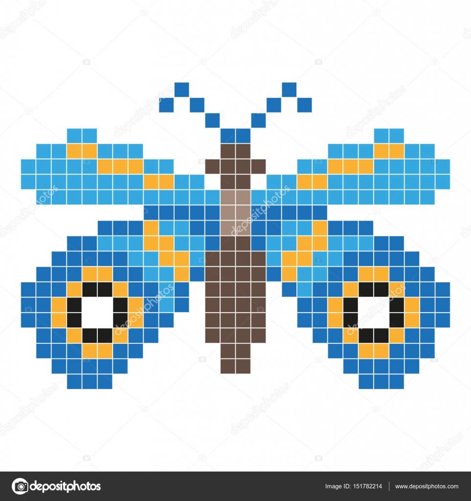 Papillon Bleu Style De Pixel Art Image Vectorielle