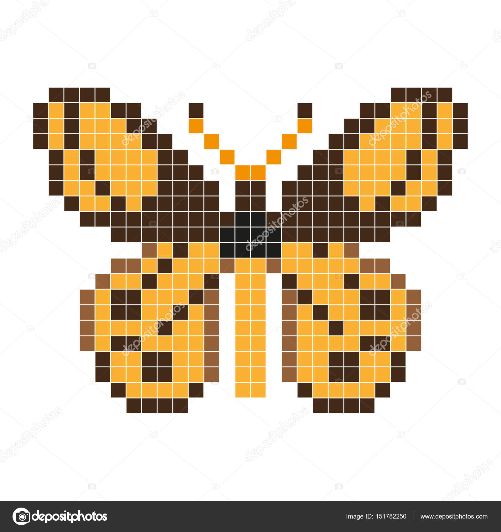 Orange Butterfly Pixel Art Style Stock Vector Aglia83