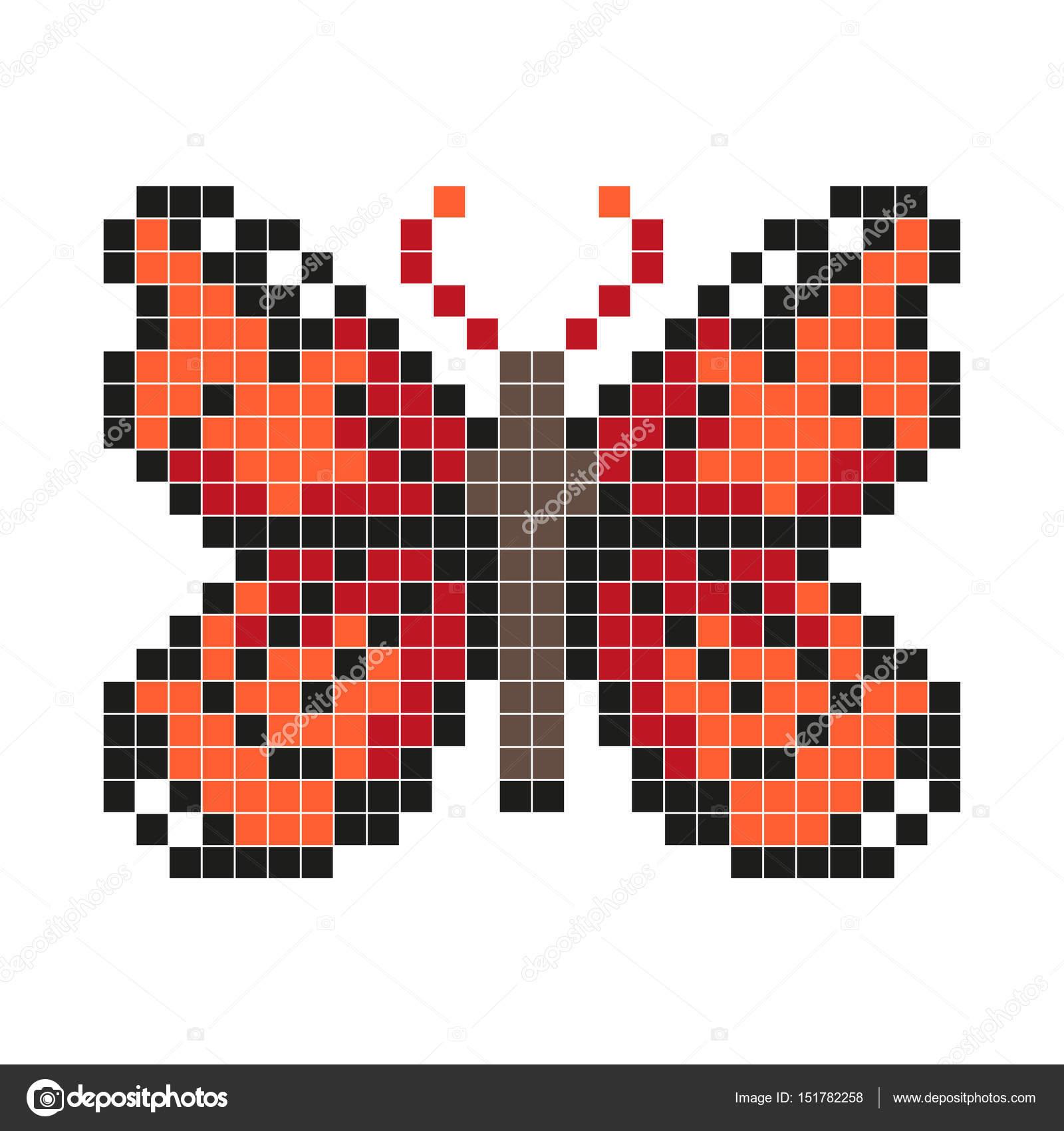Red butterfly, pixel art style — Stock Vector © aglia83 ... - Pixel Art Papillon