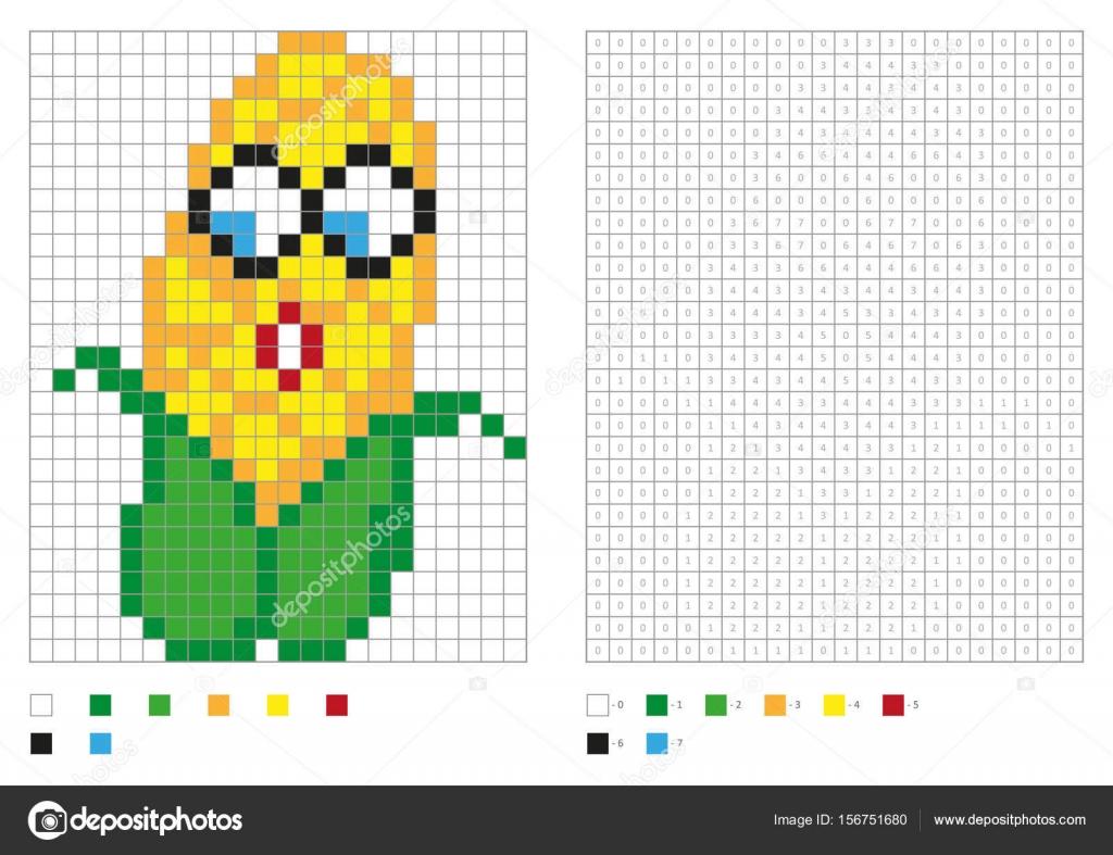 Kinder Malvorlagen, Pixel Färbung mit lustigen Mais — Stockvektor ...