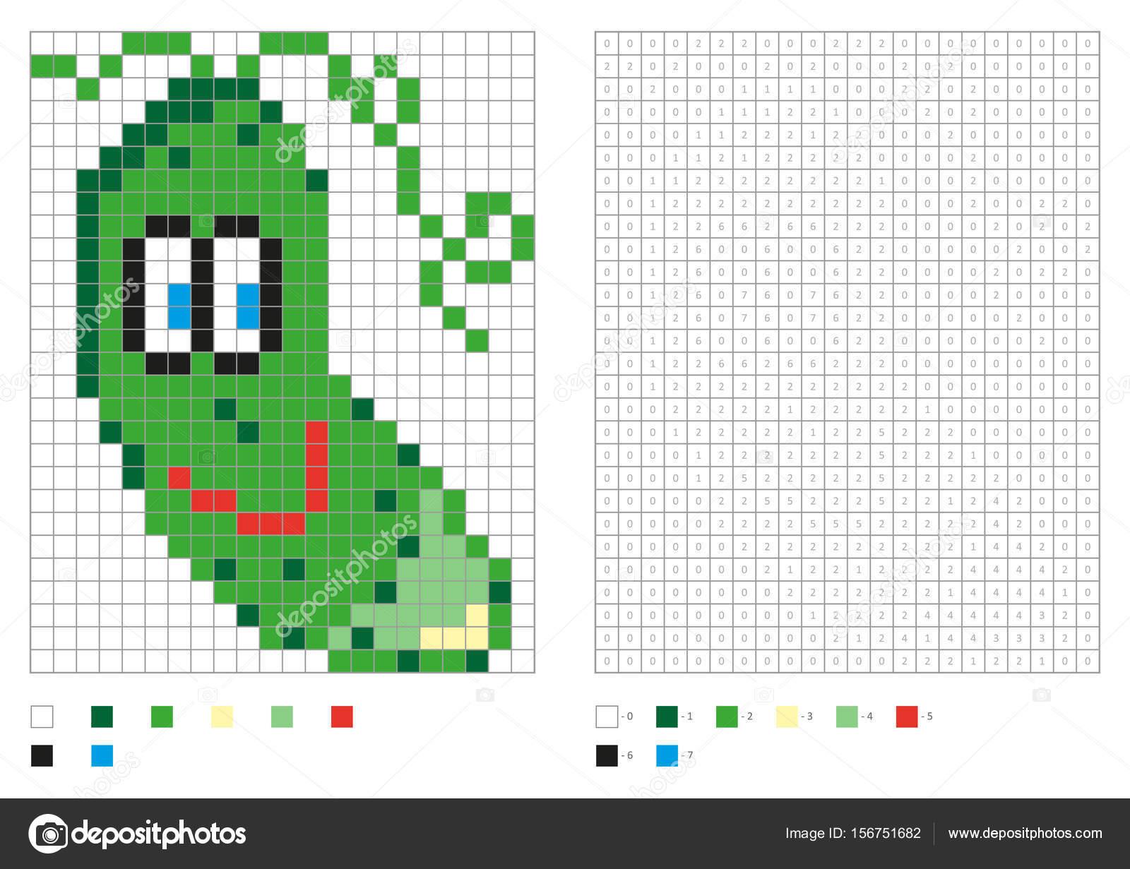 Kinder Malvorlagen Pixel Färbung Mit Lustige Grüne Gurke