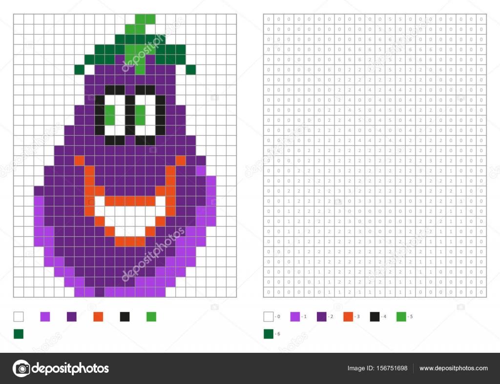 Sayfa Piksel Komik Patlıcan Ile Boyama Boyama çocuklar Stok