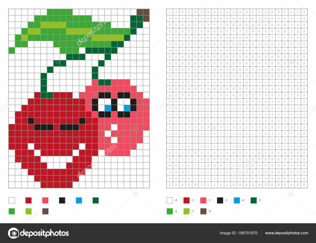 Kids coloring page, pixel coloring with funny cherry — Stock Vector ...