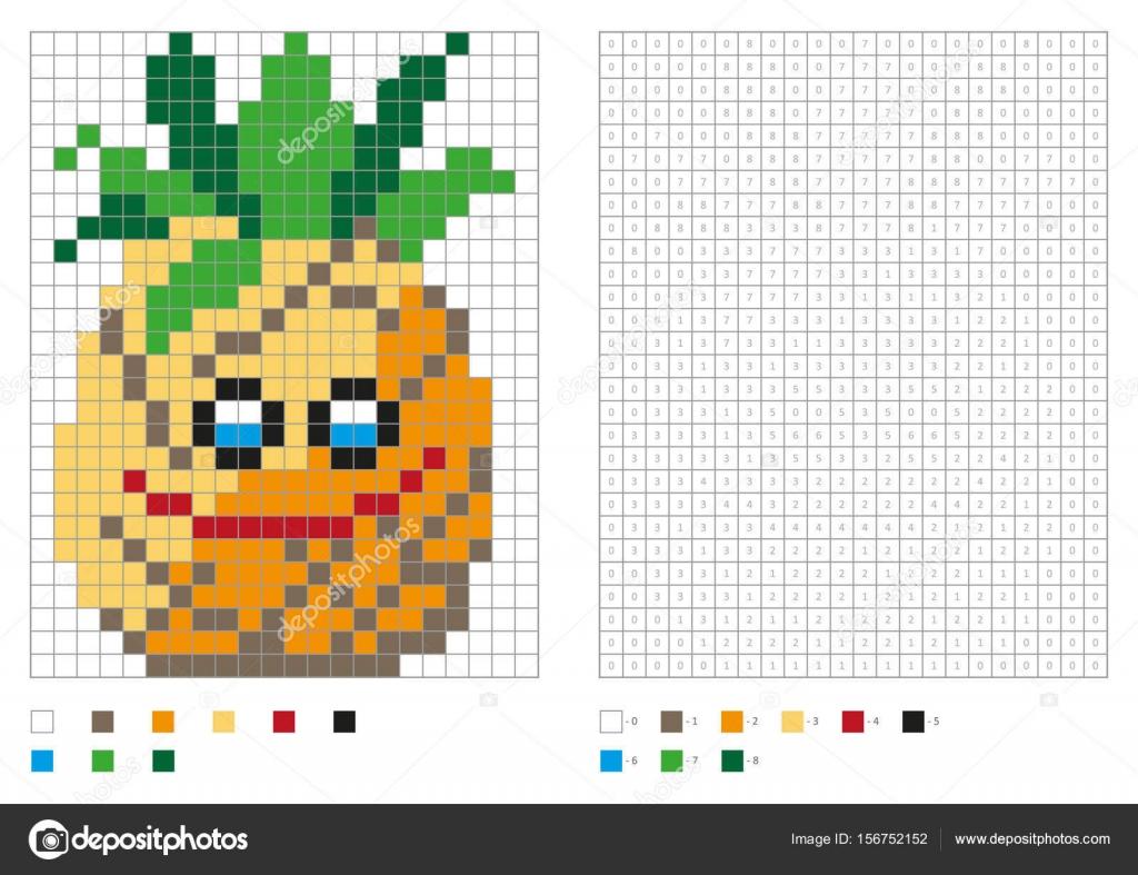 kleurplaten pagina pixel kleuren met grappige ananas