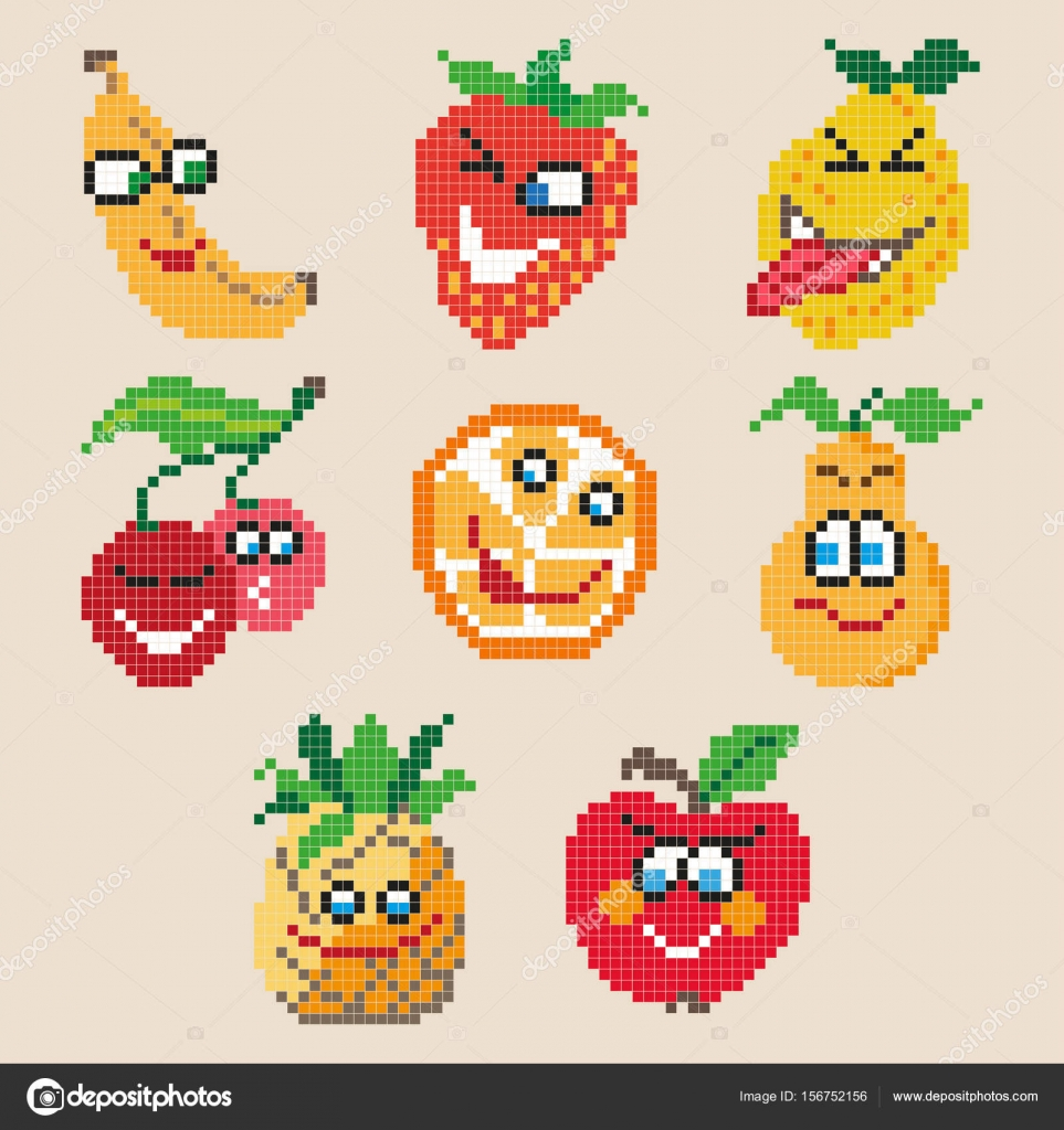 Ensemble De Fruits Dessin Animé Différents Pixel Image