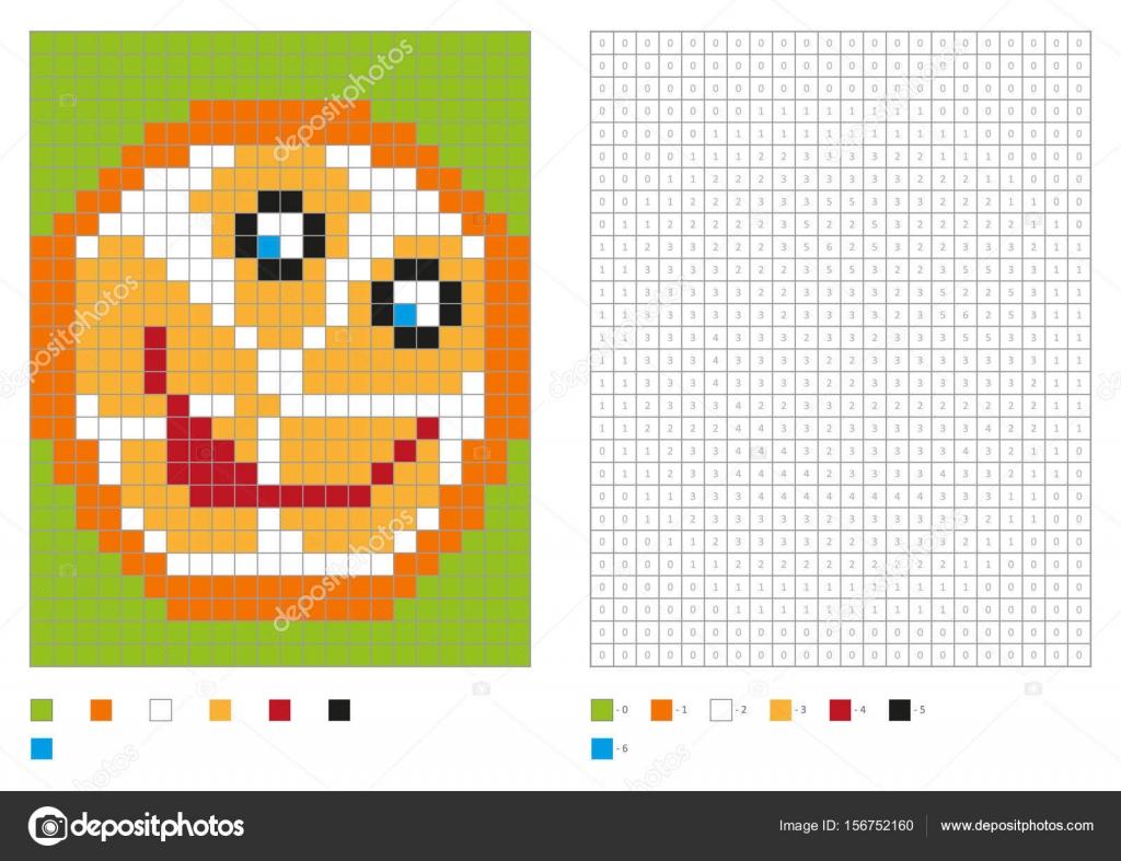 Bambini Colorare Pagina Pixel Da Colorare Con Arancio Divertente